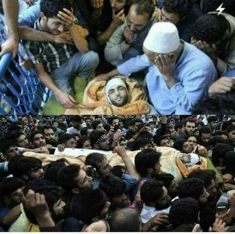 Burhan Wani的葬禮,許多民眾前來參與送行、哀悼。